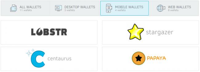 Stellar lumens : portefeuille pour mobile