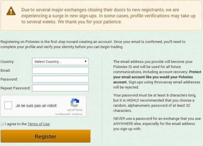 Acheter des crypto-monnaie via Poloniex