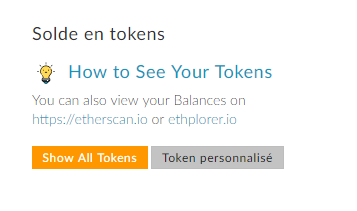 MyEtherWallet - Tokens disponible