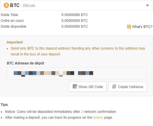 Binance - Dépôt de Bitcoin