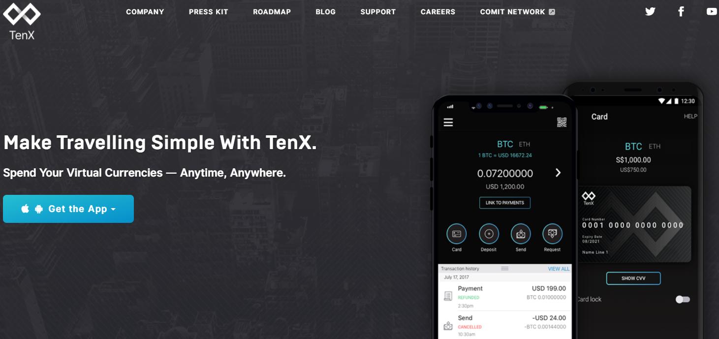 Payer en bitcoin avec TenX