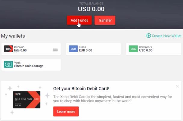 Xapo ajouter des fonds - Payer en bitcoin