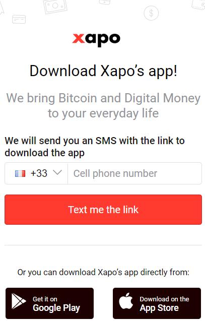 Xapo signup - Payer en bitcoin