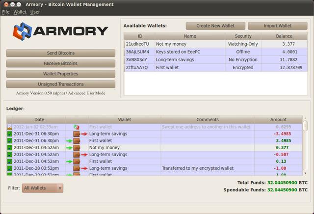 Armory : Choisir des portefeuilles Bitcoin et de crypto-monnaies
