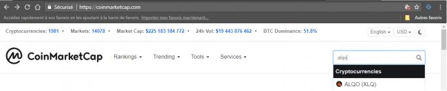 Configurer un masternode : Sélection sur Coinmarketcap