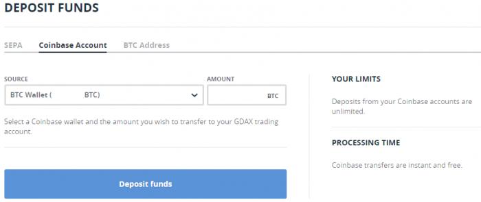 GDAX - Dépôt fonds