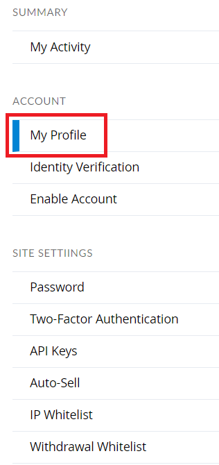 Bittrex - My Profile