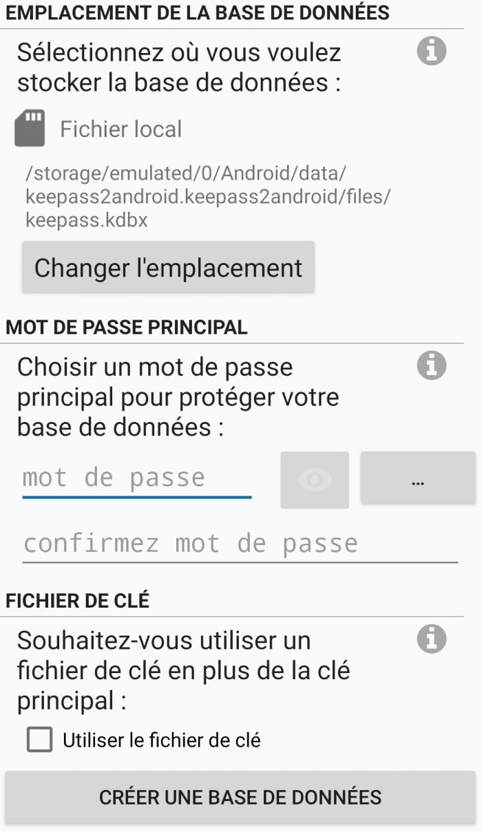 Création base de données - Keepass2android