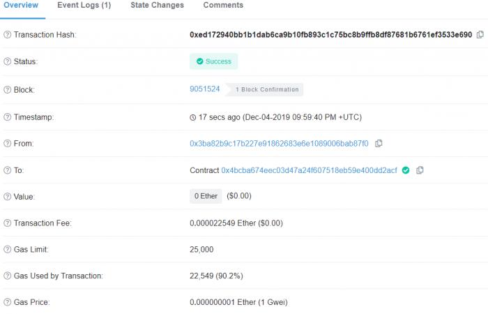 Transactions sur Etherscan