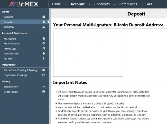 Dépôt sur BitMEX