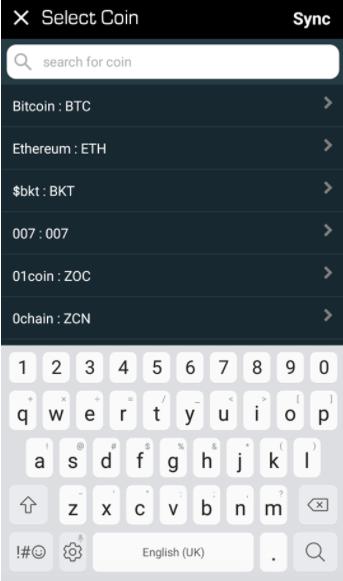 Blockfolio - Ajout de cryptomonnaies
