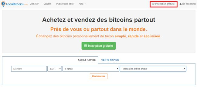 Inscription sur LocalBitcoins