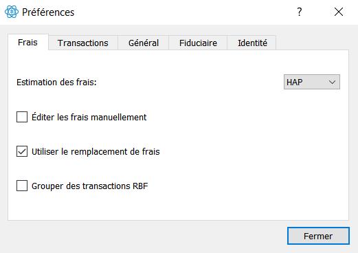 Electrum - Remplacement des frais (RBF)