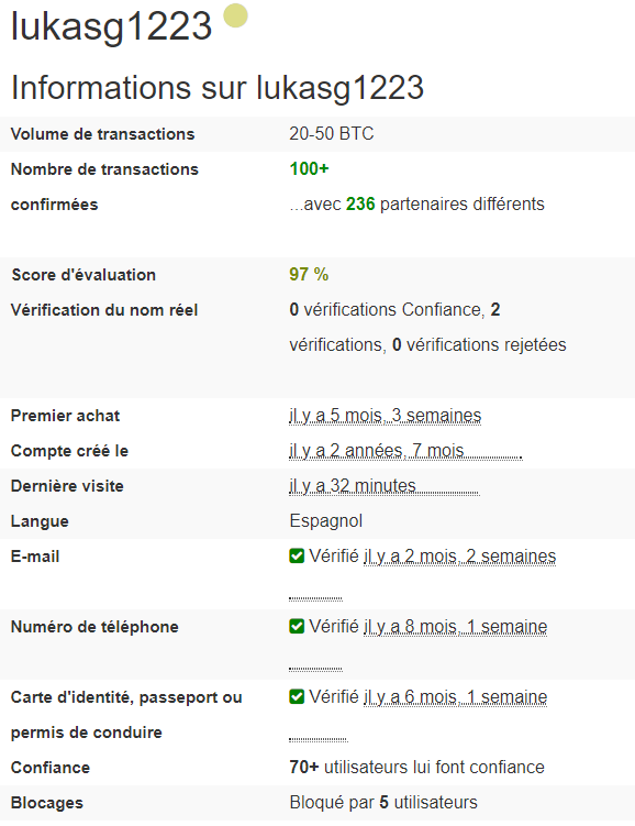 LocalBitcoins - Information sur le vendeur