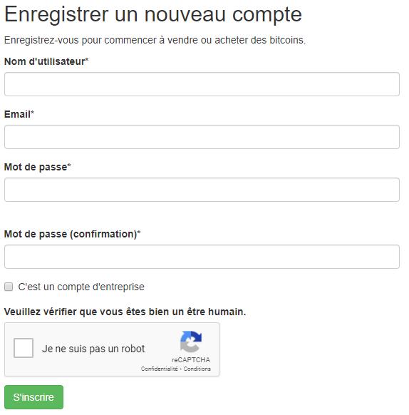 Créer un compte sur LocalBitcoins