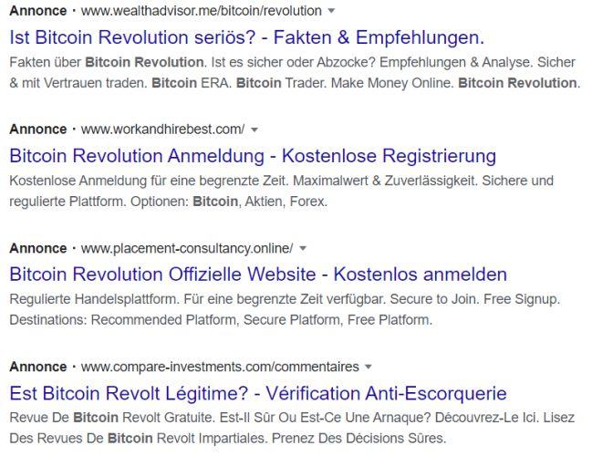 Publicité Bitcoin Revolution