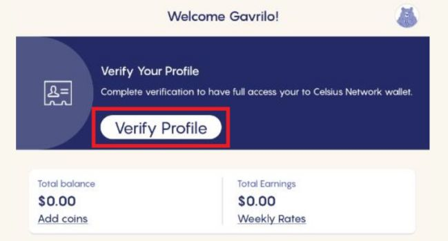Celsius Network - Verification